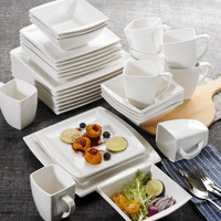 MALACASA Blance 32 Piece White Ceramic Porcelain Dinner Set with Dessert Plates Salad Soup Bowls Dinner Plates Coffee Milk Mugs