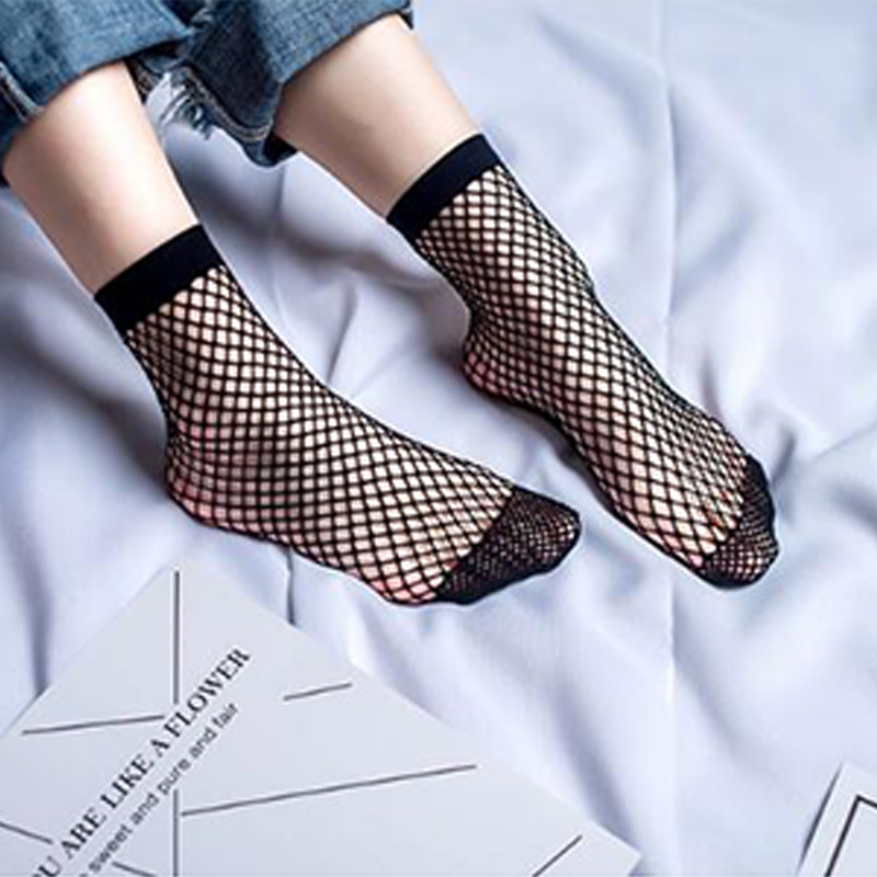 New Hot 2019 Fashion Summer Women Ruffle Large Fishnet Ankle High Socks Bow Tie Mesh Lace Fish Net Short Socks Chaussettes