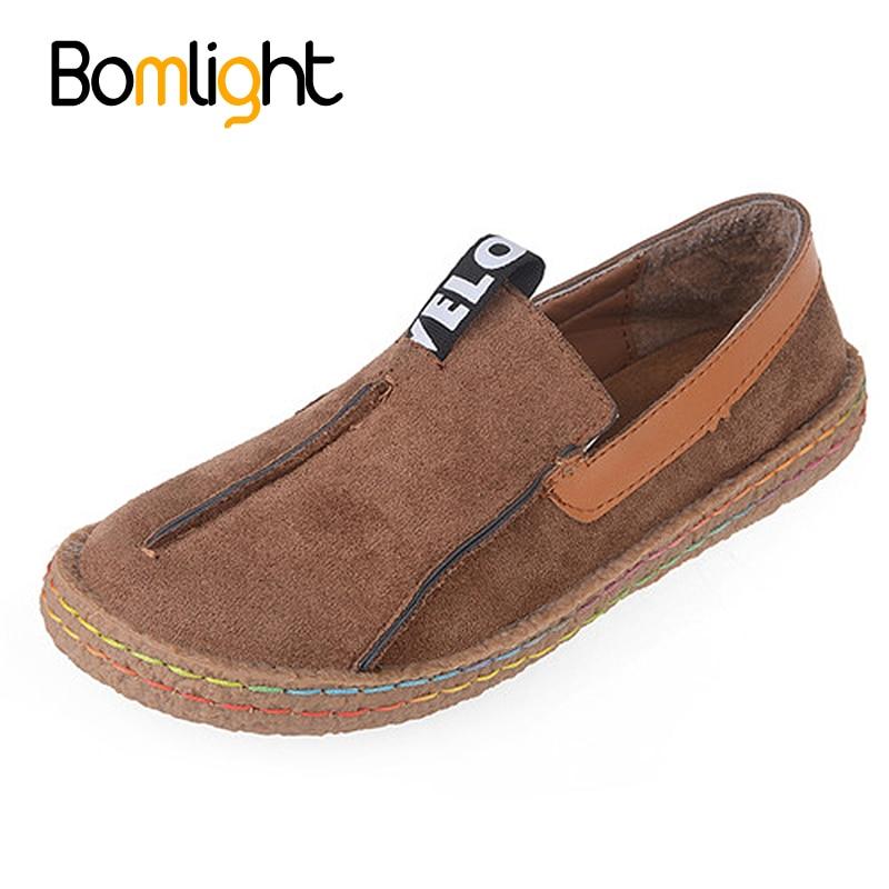 Bomlight плюс Размеры Для женщин Лоферы круглый носок Оксфорд Обувь для женщины Повседневное мягкая подошва Туфли без каблуков широкий Slip-On Обувь мягкая подошва