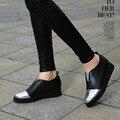 Осень Натуральная Кожа Досуг Плоские Туфли Женщина Мода Высота Увеличение Женская Обувь Женщины Обувь Для Ходьбы 2015 Zapatos Mujer