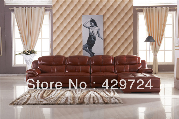 Free Shipping Leather lounge set Classic Top leather L shaped corner sofa set Redwod sofa feet with chaise leather lounge set