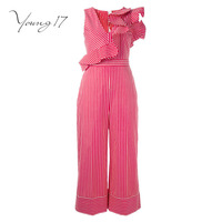 Young17 Jumpsuit 2017 New Sexy Club Jumpsuits Lady Ruffles Striped Off Shoulder Elegant Jumpsuit Long Elegant