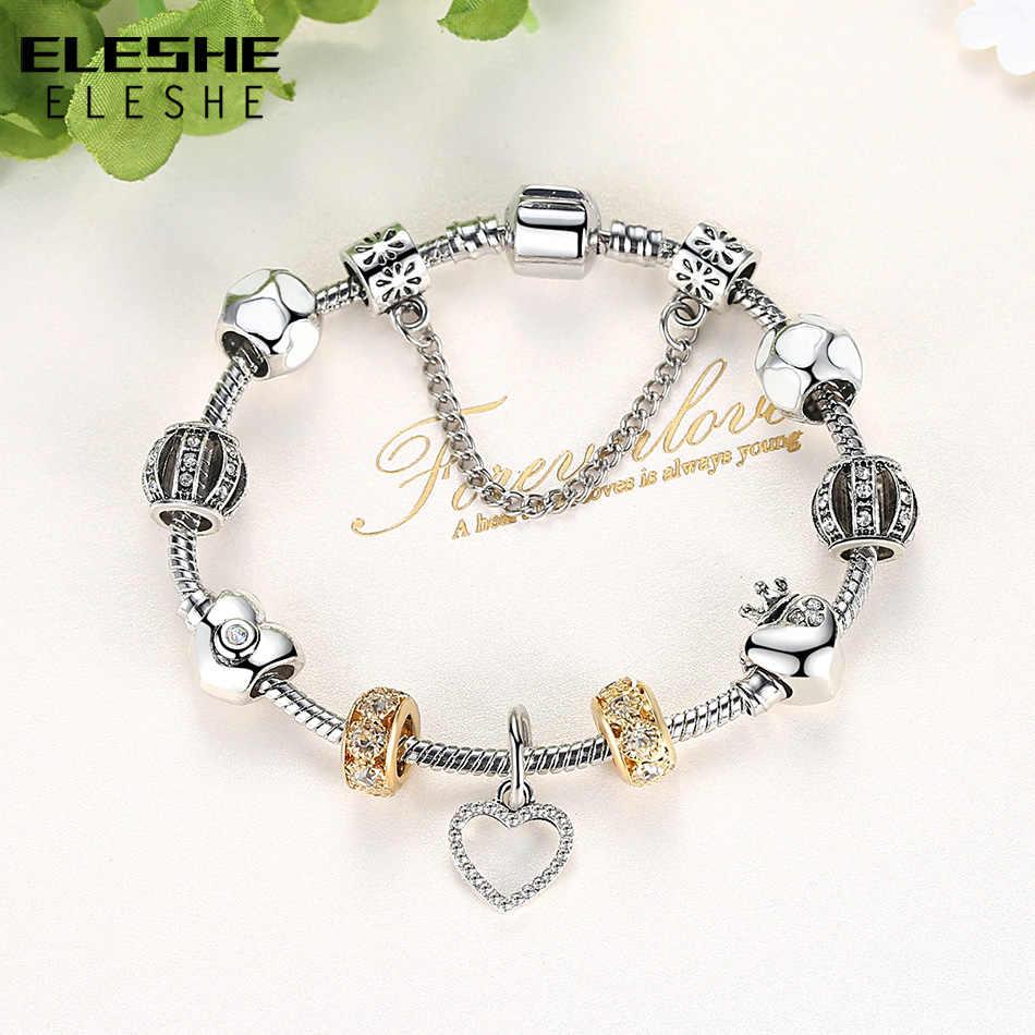 ELESHE luksusowe złota urok bransoletki dla kobiet moda damska biżuteria kryształ bransoletki z wisiorkiem w kształcie serca i Bangles prezent na Boże Narodzenie