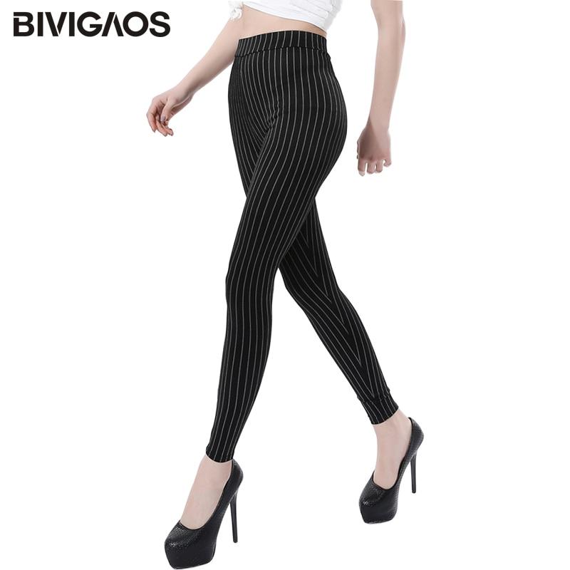 BIVIGAOS Neue Vertikale Streifen Dünne Dünne Stretch Leggings Plus Größe Keine Pilling Jeggings Dünne Legging Hosen Frauen Sexy Leggings