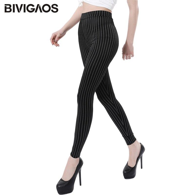 BIVIGAOS New Vertical Stripes Slim Skinny Stretch Leggings Plus Size No Pilling Jeggings Thin Legging Pants Women Sexy Leggings