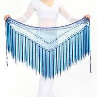 5 Colori Danza Del Ventre Accessori Multicolore Lungo Nappa Cintura Triangolo Crochet della Mano Danza Del Ventre Hip Sciarpa