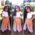 2016 New Fashion Cute Baby Girls Clothes Set Summer short Sleeve T Shirt Top and Floral Skirt 2PCS Little Girls Outfit Set