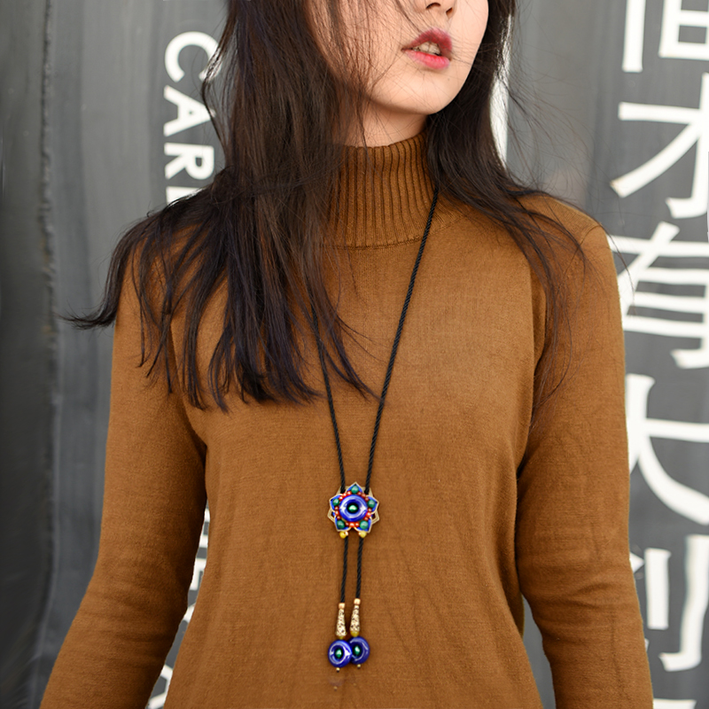 trendy sweater ethnic necklace for women long chain bule red stone and bronze lotus flower pendant fashion jewelry new arrival