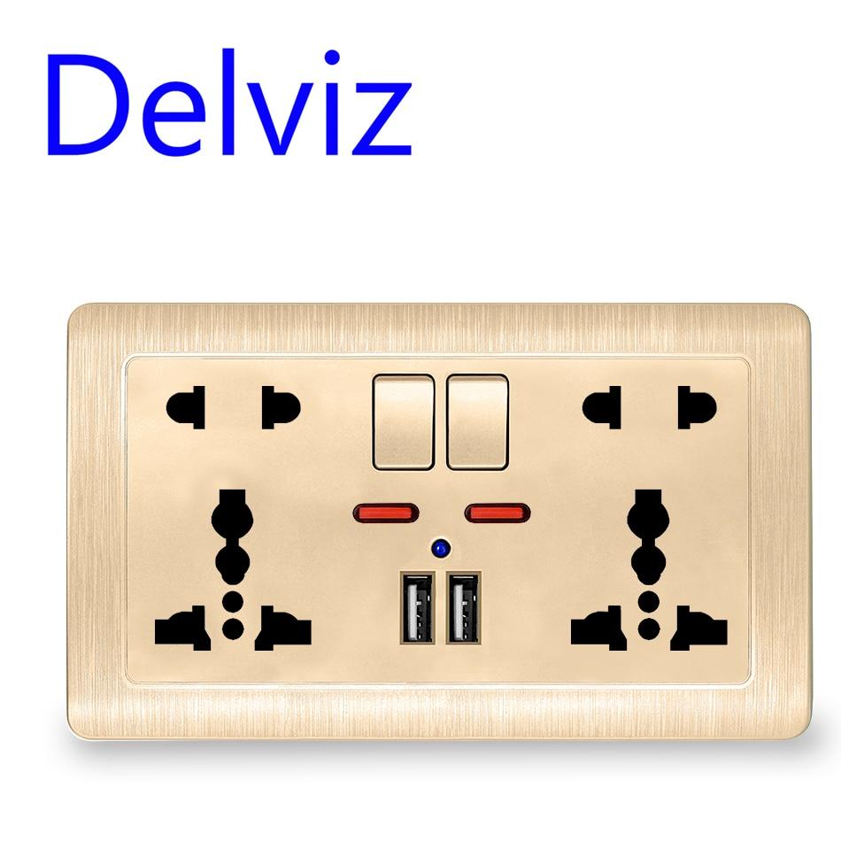 Interruptor universal internacional 5 Buraco tomada, Carregador USB Porto, AC110V-250V, power Socke USB Duplo Ligado Tomada de Parede Padrão Da UE