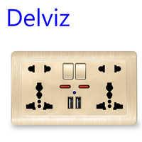 Interrupteur universel International prise 5 trous, Port chargeur USB, AC110V-250V, prise de courant murale Standard de l'ue