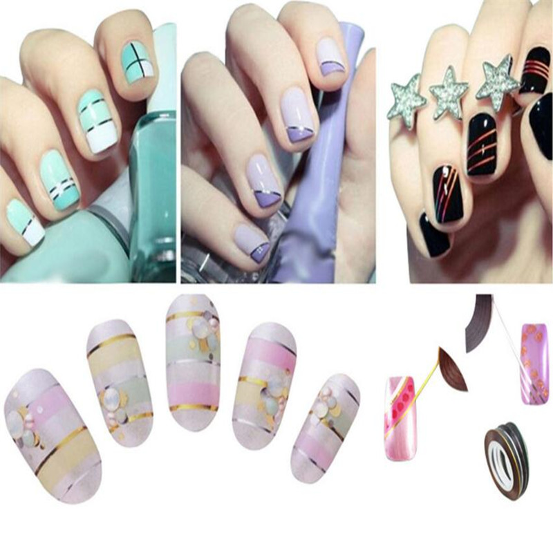 Bittb 30pcs Colors Nail Strips Best Nails Art Design Strips,New Manicure  Nail Tape Strip Stickers Decal Beauty Tools Line Cheap-in Stickers & Decals  from ... - Bittb 30pcs Colors Nail Strips Best Nails Art Design Strips,New