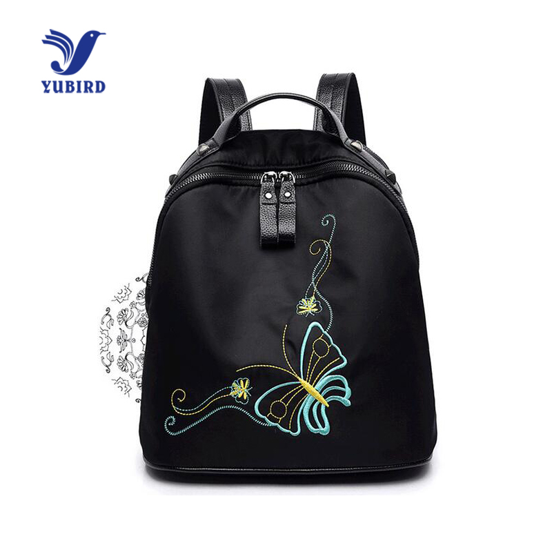 YUBIRD Brand Women Backpack Embroidery Butterfly Printing Backpack School Bag Girl Rivet Leather Oxford Cloth Travel