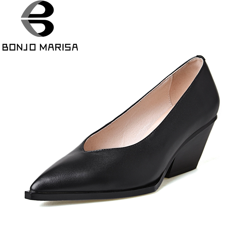 BONJOMARISA 2018 genuine leather chunky high heels slip on women shoes Woman black pointed toe woman pumps size 34-39 nayiduyun women genuine leather wedge high heel pumps platform creepers round toe slip on casual shoes boots wedge sneakers