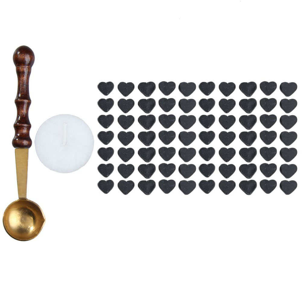 1pcs Vintage Wax Stamp Sealing Wax Spoon Wood Handle Sealing Mini Melting Wax Spoon+70pcs Heart Shaped Sealing Wax Beads big copper spoon big large size stamp spoon vintage wooden handle brass spoon for sealing wax stamp wax stick spoon