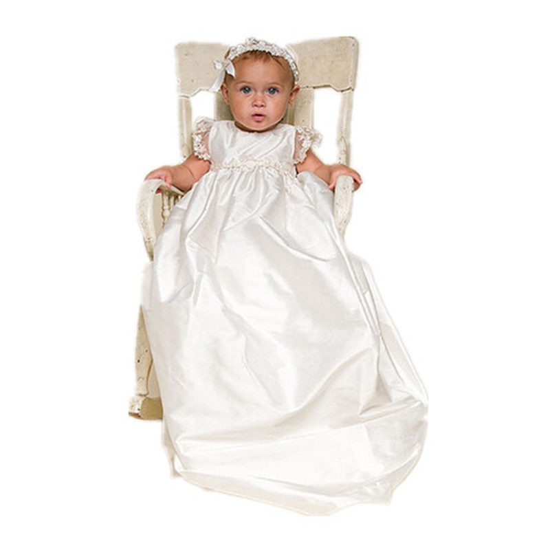 BBWOWLIN White Baby Girl Christening Gowns Dresses 1 Year Birthday Dress Elegant for Newborn - 2 Years Baby Girls 80140 bbwowlin white newborn baby girl christening gowns headdress 1 year birthday dress first communion dresses for girls 90138