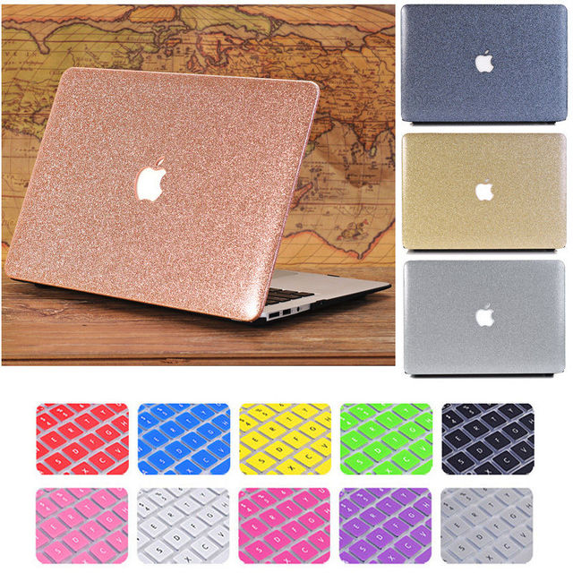 newest 48aa6 5171c US $15.01 5% OFF|Glitter Bling Shiny Frosted Rigid Plastic Case cover for  Macbook Air Pro Retina 11