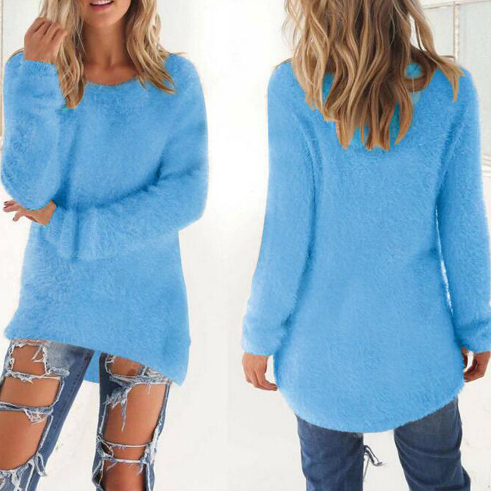 Fashion girls turquoise cotton long sleeve winter sweater for Women s turquoise long sleeve shirt