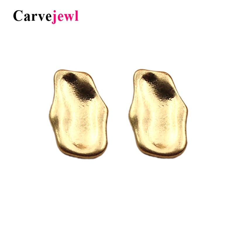 Carvejewl Gold Color Cute Irregular Bumpy Metal Stud Earrings Geo Unique Party Elegance Top Rock Sale New Designer Items Jewelry