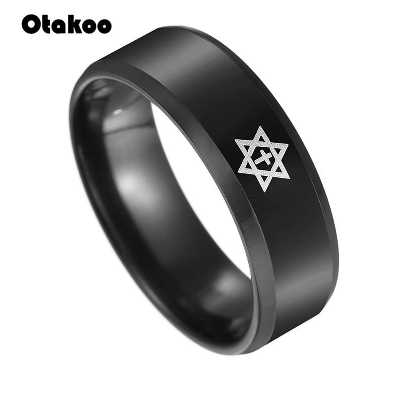 Otakoo Magen Star of David Men Ring Cool Punk Stainless Steel Israel Jewish Male Jewelry US Size 6 7 8 9 10 11 12