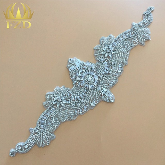 Cloths Rhinestone Applique Trimming For Wedding Dresses Bridal Sash Belt Sew  On Crystals Patches DIY Glass Girdle Strass Sliver 400e5ba20b1f
