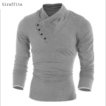 2017 New Autumn Mens Oblique Button Collar T Shirt Fashion Men Long Sleeve T Shirts Slim Fit T-shirt Solid Tee