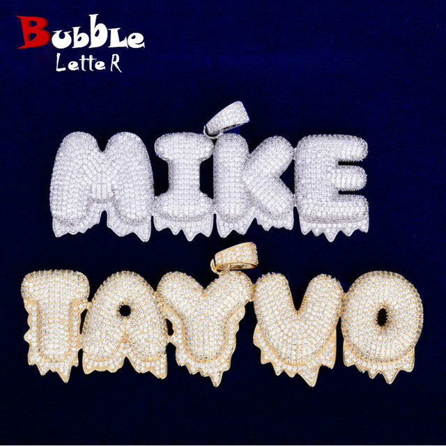 Custom Name Drip Bubble Letters Charms Necklaces & Pendant Mens Zircon Hip Hop Jewelry