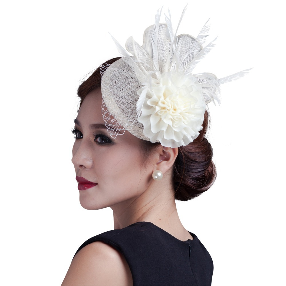 2016 women ivory chiffon flowers Fascinator with feather ladies sinamay hair  fascinators wedding and party free shipping high quality 2015 mini disc flower sinamay fascinator with feather for race