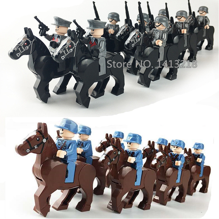 8pcs German Chinese Army WW2 Military Horse Soldier SWAT Special Forces Team Building Blocks Bricks Figure Boys Educational Toys 8pcs army military special forces soldiers ww2 swat model diy building blocks brick figures educational toys gifts boys children