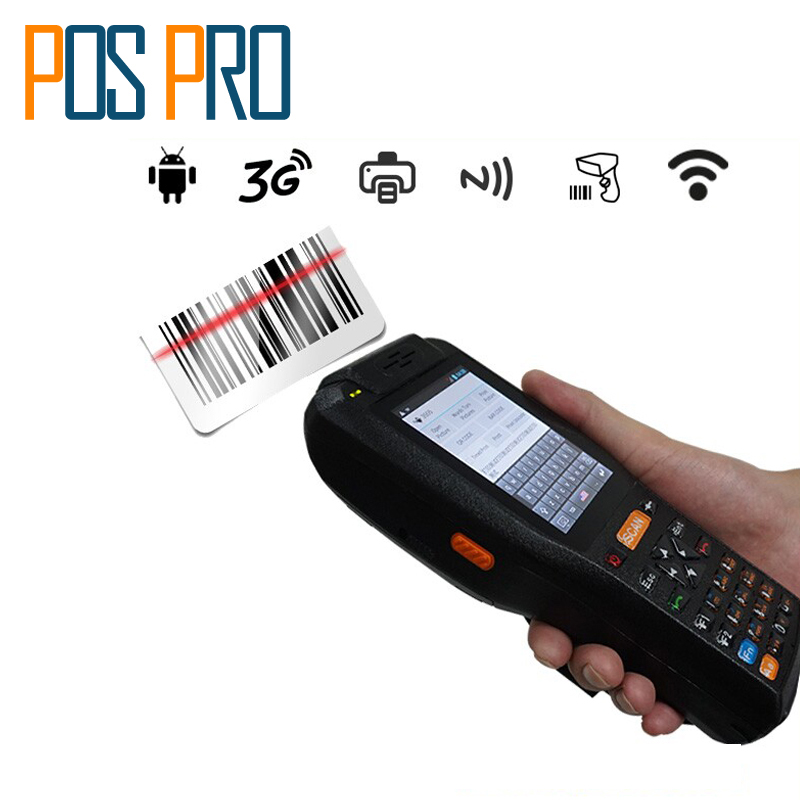 IPDA015 Android With 58mm Thermal Printer 4000mA battery Android 1D 2D QR Barcode Scanner handheld terminal PDA GPS Card Reader