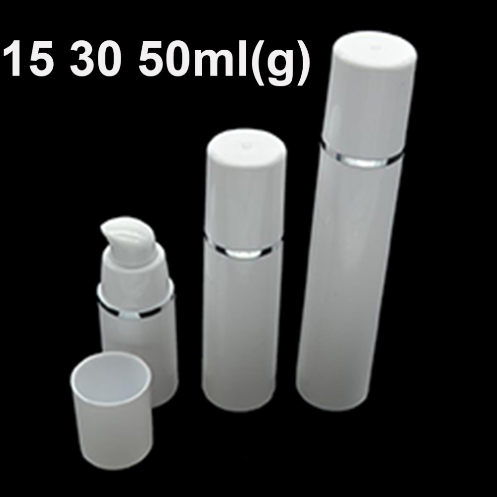 30pcs Airless Pump Bottle Plastic Container White Empty Cosmetic Bottles Cylindrical Refill Tubes Silver Line Cap