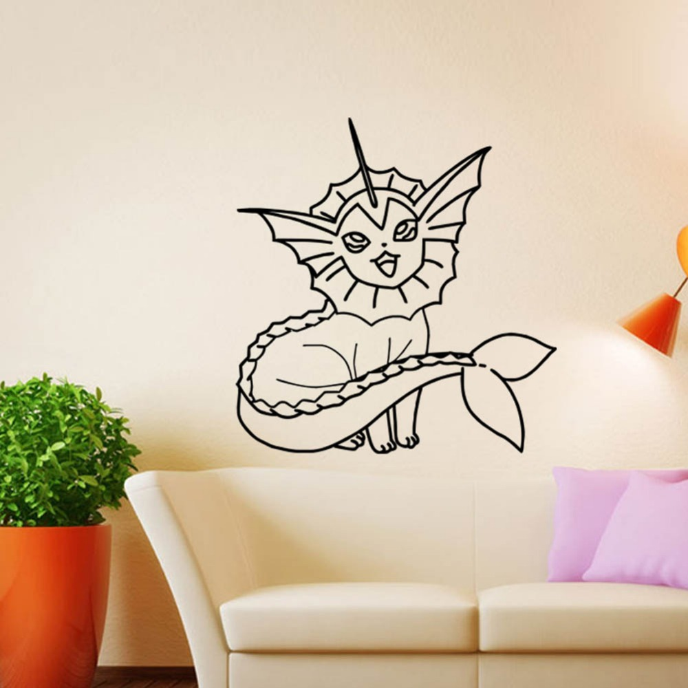 55 57cm Pvc Pokemon Wall Sticker Bedroom Decor Removable Waterproof Diy Child S Art Craft Gift