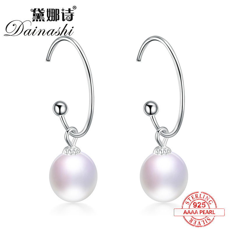 Dainashi 2017 new arrival 925 silver 100% freshwater natural real pearls ear rings fine jewelry for women gifts