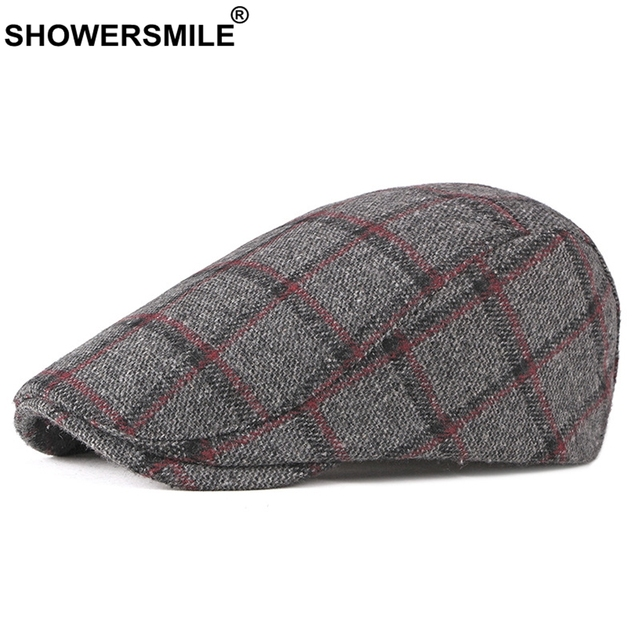 SHOWERSMILE Winter Berets Plaid Flat Caps Men Red Tweed Directors Cap Male  England Style Ivy Duckbill Hat Vintage Driving Caps 432e3b4a0c1