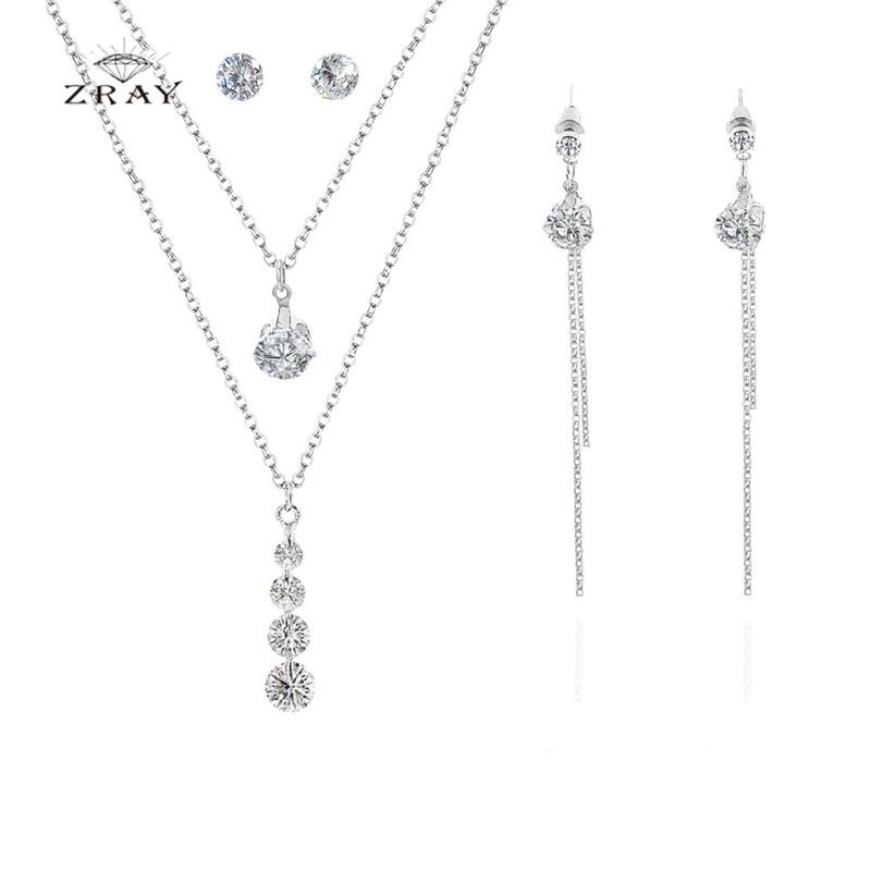 ZRAY Jewelry-Set Necklace Rhinestone Banquet Fashion Popular Women Simple Trendy Party