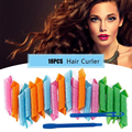 6 Set Magic Ringlet Hair Curlers Plastic Corrugated Rollers Flexi Rods Twist Spiral Circle Soft Curler with Stick Hooks Tools