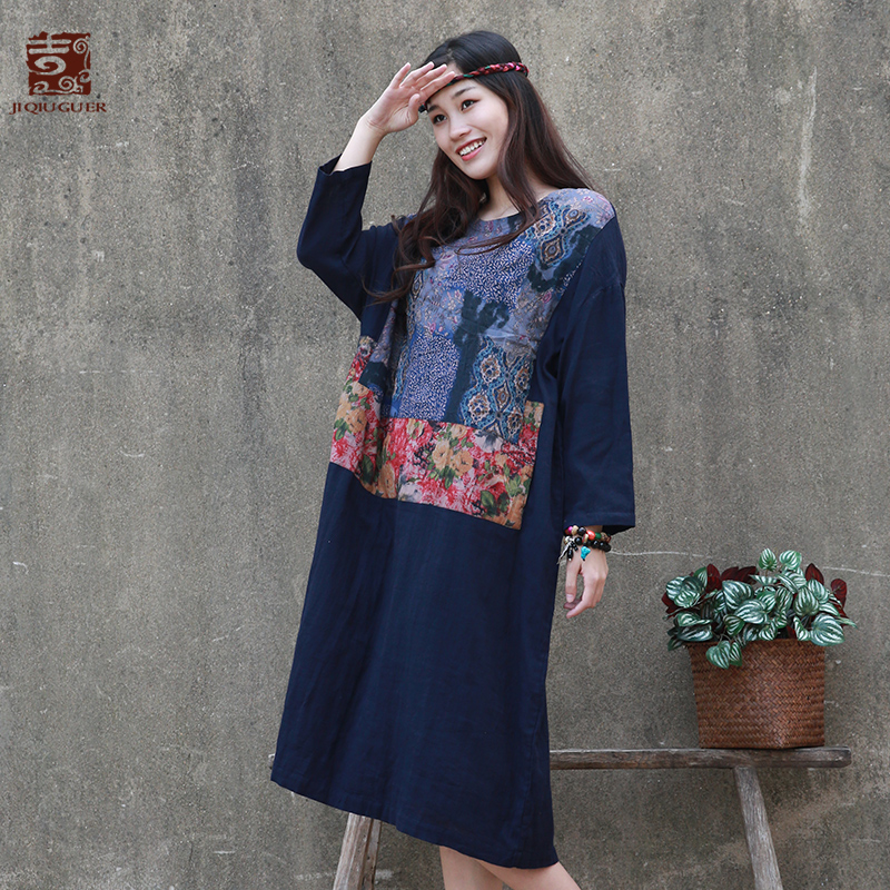 Navy Coton mollet Casual Cou G182y073 Automne Imprimer 100 Robes Poches Marine O Jiqiuguer Lâche Femmes Patchwork Mi Pull ZzYTqWSw