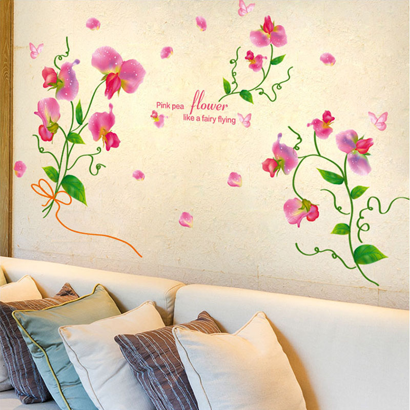 romance pink pea flower style wall stickers on the wall diy girls room bedroom home bedroom furniture sticker style