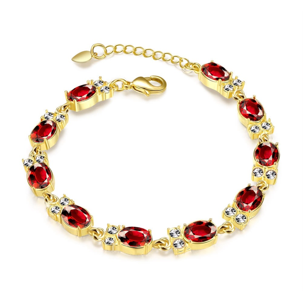 tennis diamond en gold red bracelet in carat baunat