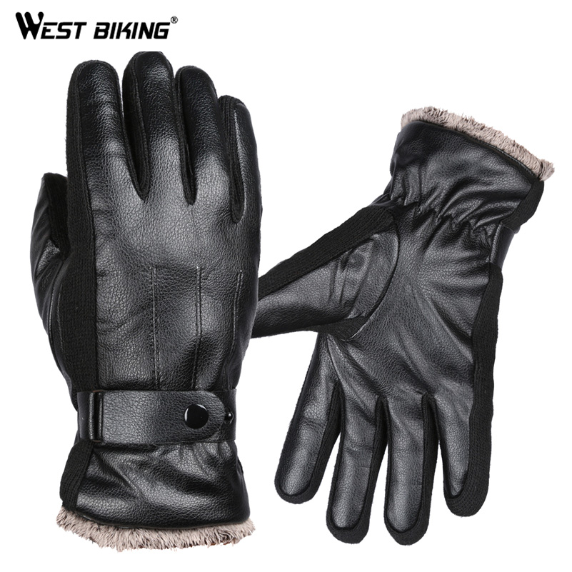 WEST BIKING Men Faux Leather Guantes Ciclismo Winter Full Finger Thick Driving Motocycle Fleece Luva Bike Bicycle Cycling Gloves