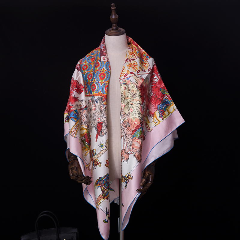 Special offer Pure Silk Scarf Women Big Square Summer Scarf 140*140cm Shawls Wraps camel Luxury Brand Designer Headband