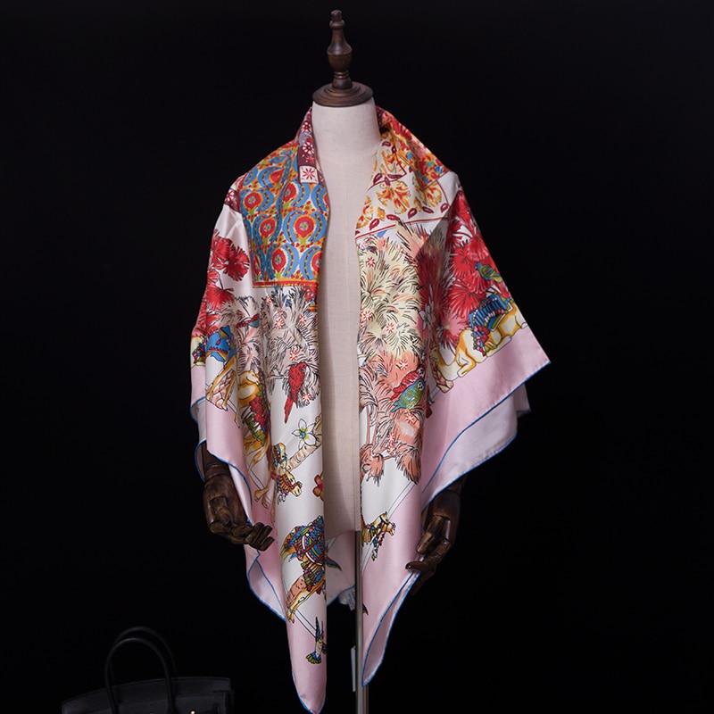 Special offer Pure Silk Scarf Women Big Square Summer Scarf 140*140cm Shawls Wraps camel Luxury Brand Designer Headband