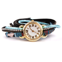 New Trendy Diamante 3 Row Charm Bracelets Value Watches With Cord Chain