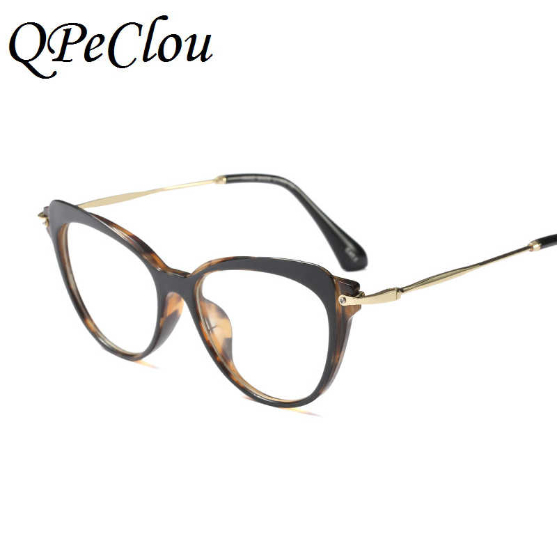 47262fd7f5 ... QPeClou Vintage Cat Eye Glasses Frame Women Brand No Degree Clear Lens  Glasses Ladies Round Face ...
