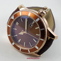 Мужские часы  коричневые стерильные часы с циферблатом 46 мм  без логотипа  с покрытием из розового золота  с календарем  вращающимся безелем ...
