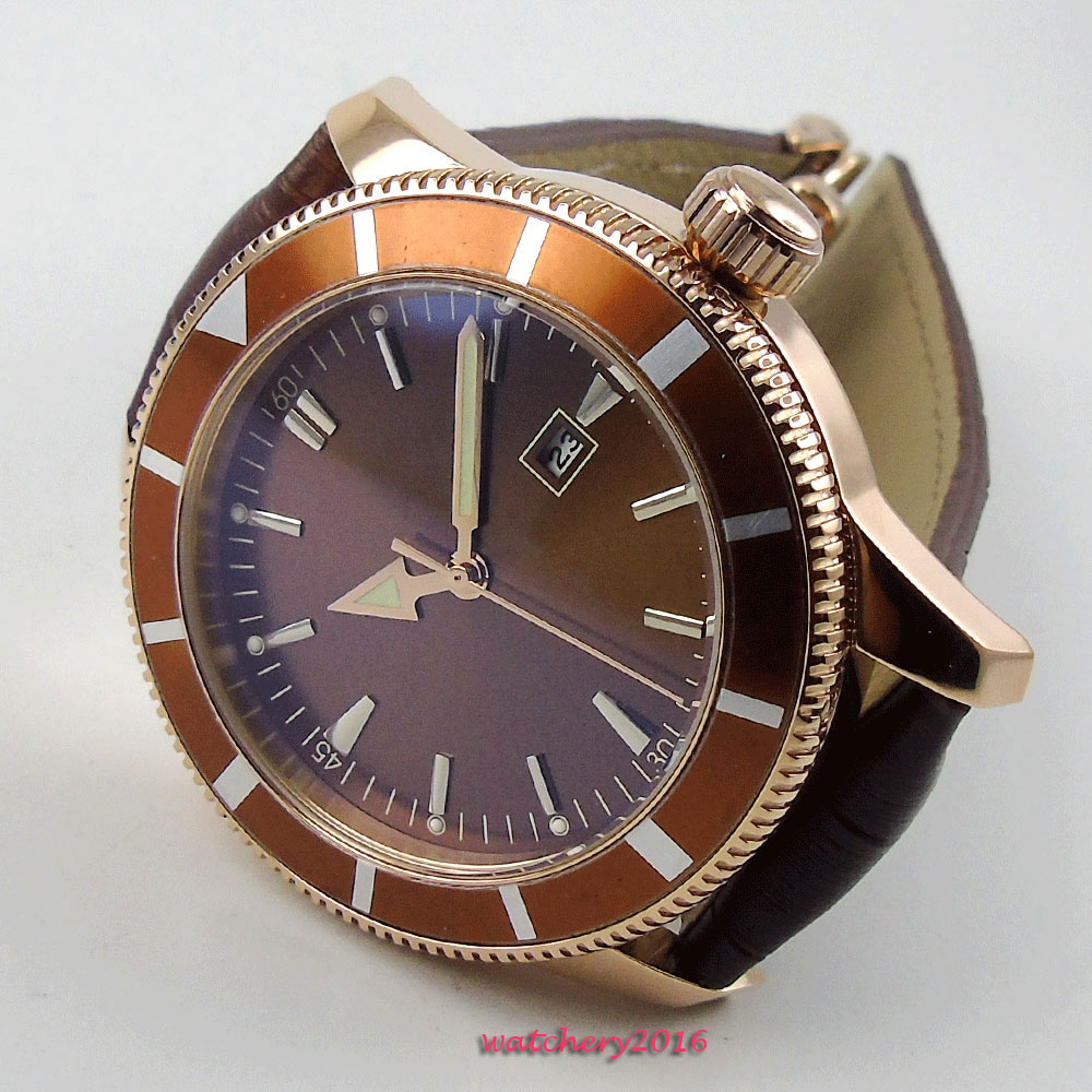 NEW 46mm Brown Sterile Dial no logo Rose Golden Plated Case Calendar Rotating Bezel Leather strap Automatic Movement men's Watch цена и фото