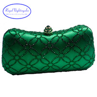 Flor Esmeralda Verde Oscuro Rhinestone de Cristal Bolso de Embrague Bolsos de Noche para Las Mujeres Del Banquete de Boda Nupcial de Cristal y la Caja de Embrague