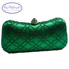 Flor Esmeralda verde oscuro Rhinestone bolsos de mano con cristales, bolsos de noche para mujer fiesta Boda nupcial cristal bolso y caja embrague