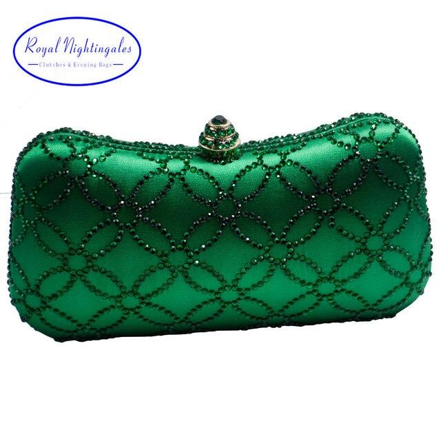 319d881c400a Flower Emerald Dark Green Rhinestone Crystal Clutch Evening Bags for Womens  Party Wedding Bridal Crystal Handbag and Box Clutch