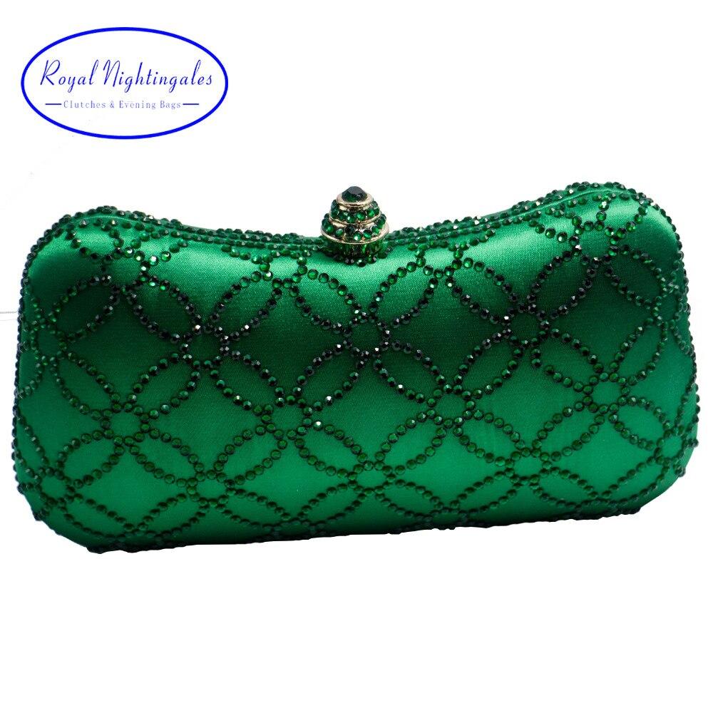 Bolsas de Noite para Mulheres Bolsa e Caixa Flor Esmeralda Verde Escuro Strass Cristal Embreagem Festa Casamento Nupcial