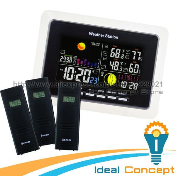 Weather Station + 3 Wireless Sensor RCC WWVB DCF 5 Weather Forecast LED Backlight Humidity <font><b>Temperature</b></font>